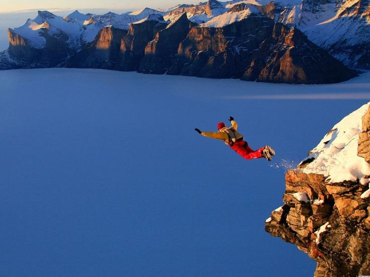 Sprung Angst Mut Erfolg Glück Spaß Komfortzone